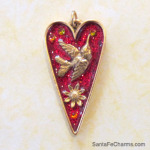 Large Red Heart w Hummingbird