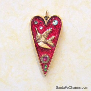 Bejewled Hummingbird Heart