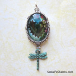Vintage Heart with patina Dragonfly